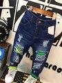 Novo 2016 Marca Primavera Outono Crianças calças de Brim Do Furo 2-6Yrs Calças Jeans Da Moda Crianças Roupas Das Meninas Dos Meninos da Criança Crianças Denim Calças