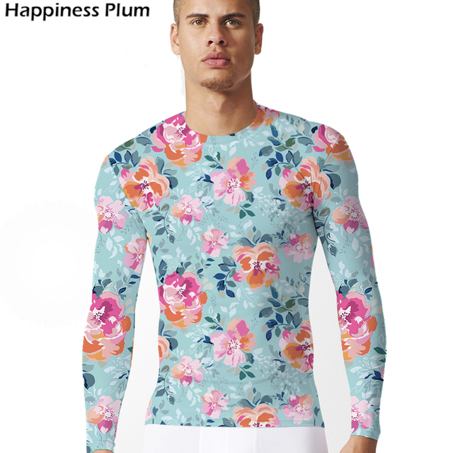 574c28d3 Pink Flower Shirt Fashion T-shirt Men Long Sleeve 3d Print Tshirt Tee  Summer Top