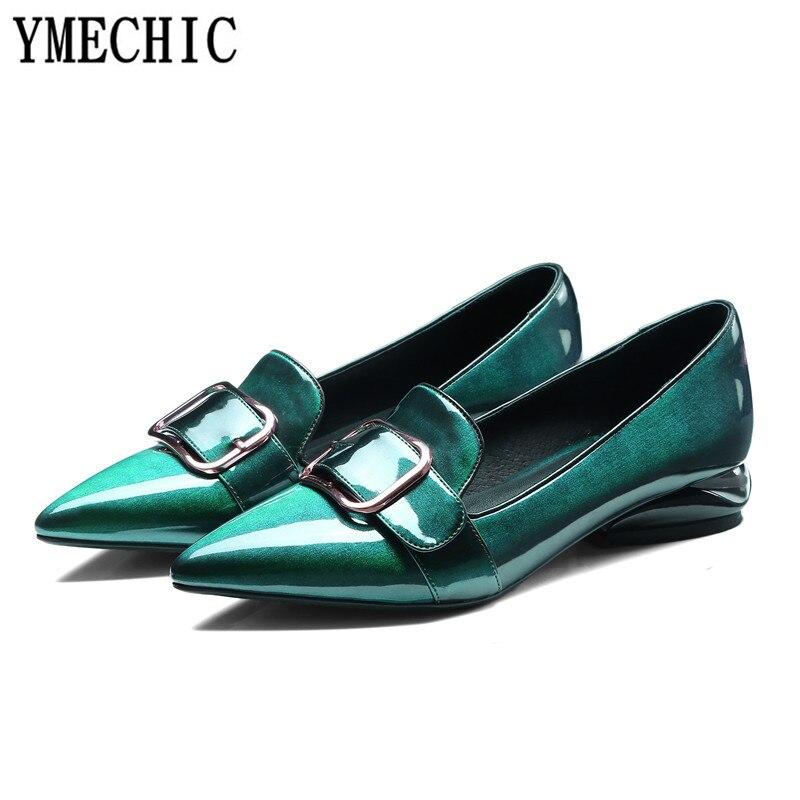YMECHIC 2018 أزياء براءات الاختراع والجلود وأشار بيغيني مضخات كعب منخفض أحذية مشبك الانزلاق على إمرأة عارضة مكتب حزب الإناث مضخات-في أحذية نسائية من أحذية على  مجموعة 2