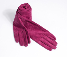 60cm(23.6) long classic plain real suede leather evening opera gloves in burgundy