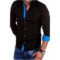 Men Shirt Brand 2018 Male High Quality Long Sleeve Shirts Casual Hit Color Slim Fit Black
