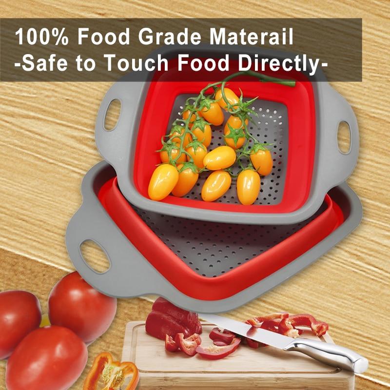 WALFOS 2 шт./компл. складная корзина для сушки складной дуршлаг овощи фрукты дуршлаг Кухонные принадлежности