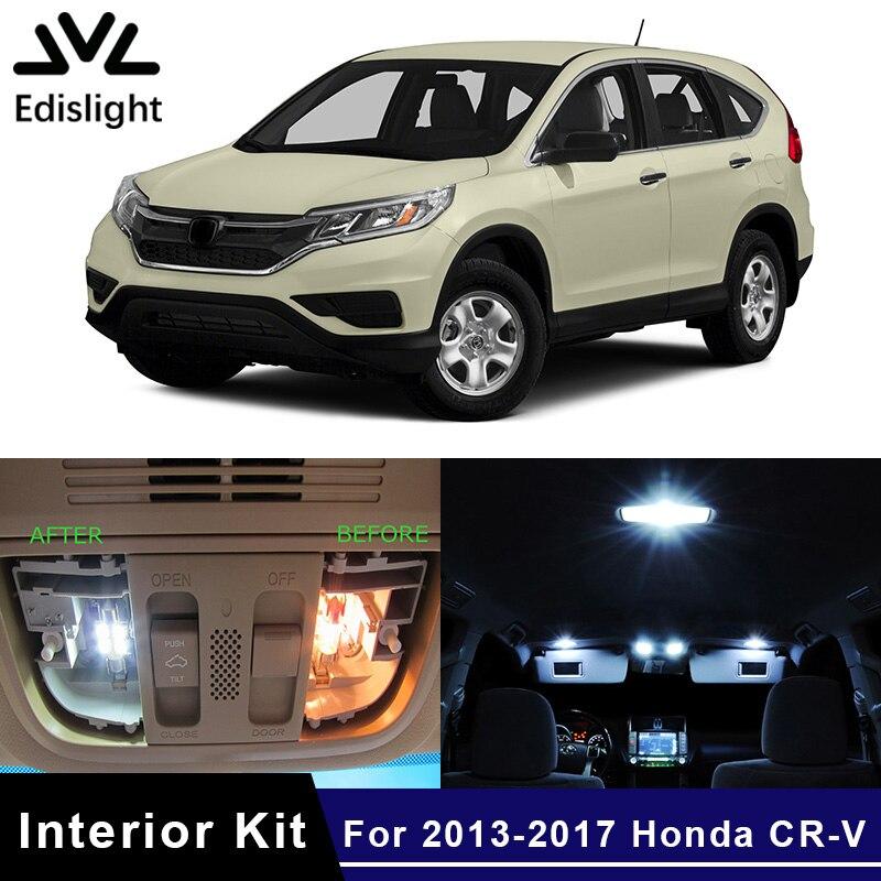Edislight 8Pcs Canbus White Ice Blue LED Lamp Car Bulbs Interior Package Kit For 2013-2017 Honda CR-V CRV Map Dome Trunk Light
