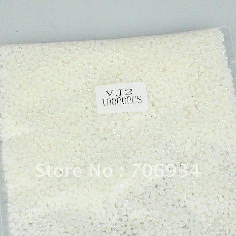 Pearl Flat Back 1bag/lot(10000pcs/bag) 15 Colors optional VJ2.0 Beige Round Recorative Pearls In Bulk Nail Art Tip Pearl