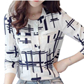 Elegant Striped Shirts Women Chiffon Tops Women's Blouses 2016 Spring Women Blouses Office Lady Large Size 3XL