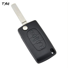TYUI 3 Buttons With Battery Clip Car Flip Remote Key Case Fob For Peugeot 307 Key Replacements Blade No Groove With Trunk Button