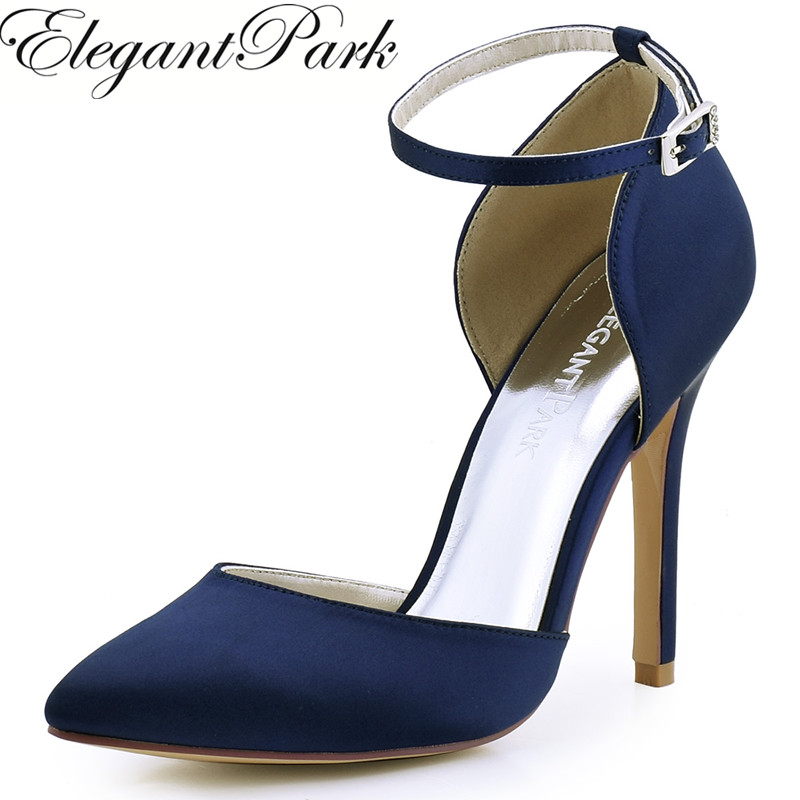 Woman Shoes Black Pointy High Heel Prom Pumps Ankle Strap Satin Bride Bridesmaids Wedding Bridal Evening Shoes HC1602 Navy Ivory