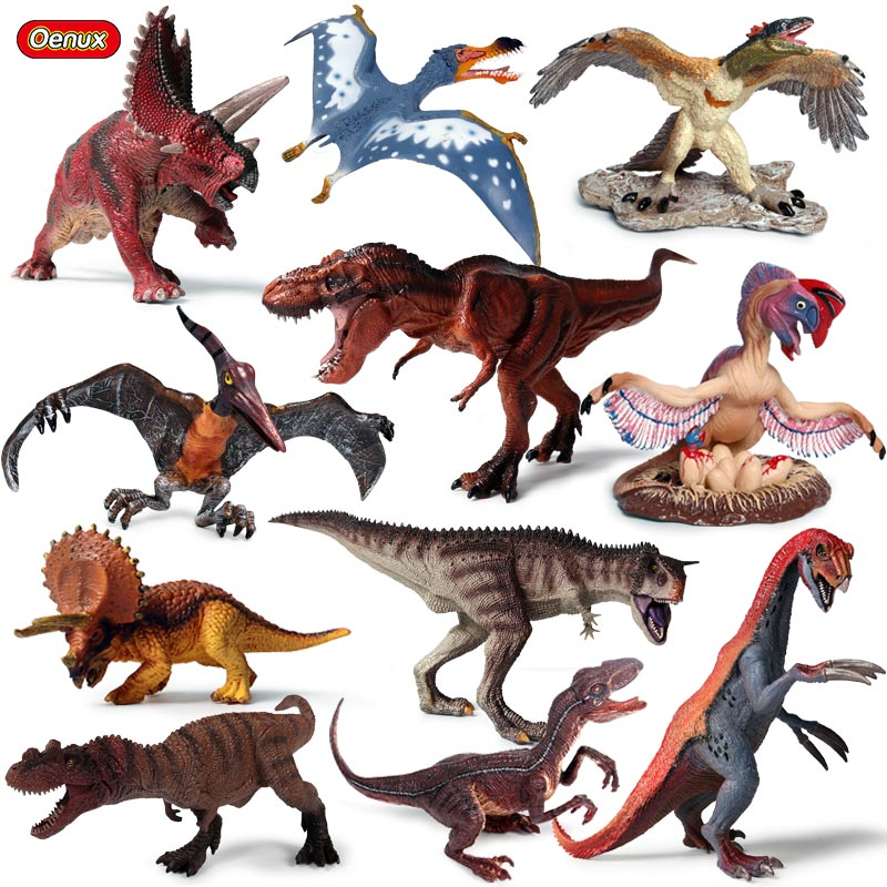 Oenux High Quality Dinosaur World Park T-Rex Pteranodon Therizinosaurus Spinosaurus Model Jurassic Dinosaurs Action Figures Toy oenux animals series action figures dinosaur marine animal bird wild animals original high quality model brinquedo toy for kids