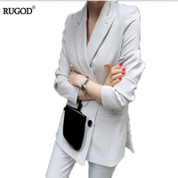 RUGOD 2017 Autumn Winter Chic 2 Piece Suit Striped All purpose Blazer Jacket And High Waist Long Women Two Piece Sets