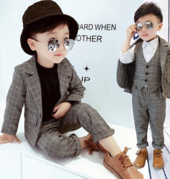 kids boys clothes set for wedding new 2018 boys spring clothes plaid blazer+vest+pant clothing sets 3pcs boys full dress