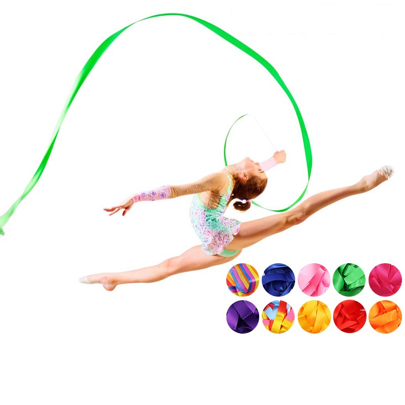 2M/4M Colorful Gym Ribbons Dance Ribbon Rhythmic Art Gymnastic Ballet Streamer Twirling Rod Stick For Gym Training Professional