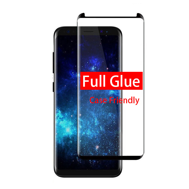 3D Full Glue Adhesive 9H Tempered Glass For Samsung Galaxy S8 S9 Plus S8Plus S9Plus Note 8 9 Screen Protector Case Friendly