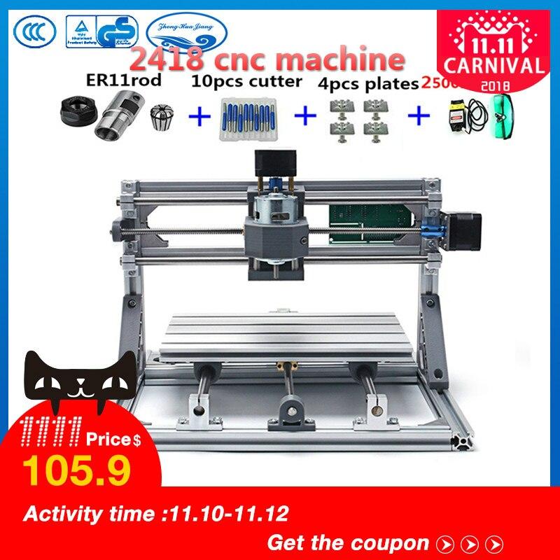 CNC 2418 + 2500 mw laser GRBL contrôle Diy laser gravure ER11 CNC machine, 3 axe pcb fraiseuse, Bois Routeur + 2.5 w laser