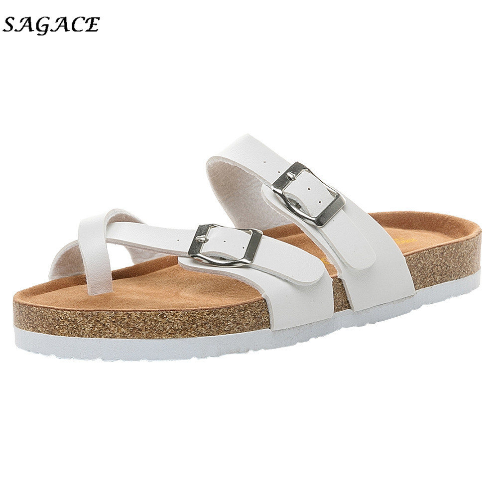 3993c1b1b SAGACE 2018 hot shoes women zapatos mujer Womens Double Buckle Strap  Leather Flat Sandals Thick soled Cork Slipper size36 43-in Slippers from  Shoes on ...