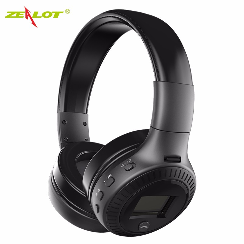 High Qulaity Zealot B19 LCD Wireless Headphones Bluetooth Sport Headset With Mic HIFI Bass TF Card Headphone For Samsung high qulaity black