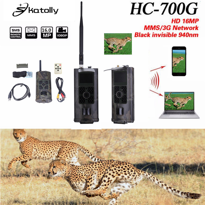 Skatolly HC700G Hunting Camera 16MP 1080P Night Vision Trail Cameras Trap 3G GPRS MMS SMS 940nm Infrared Wildlife Scouting Cam 16 ports 3g sms modem bulk sms sending 3g modem pool sim5360 new module bulk sms sending device