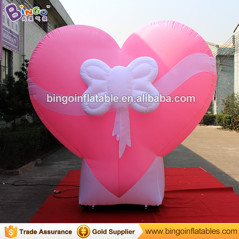 2.5 meters High Customized balloon type pink giant inflatable heart for wedding valentine's day giant inflatable balloon for decoration and advertisements