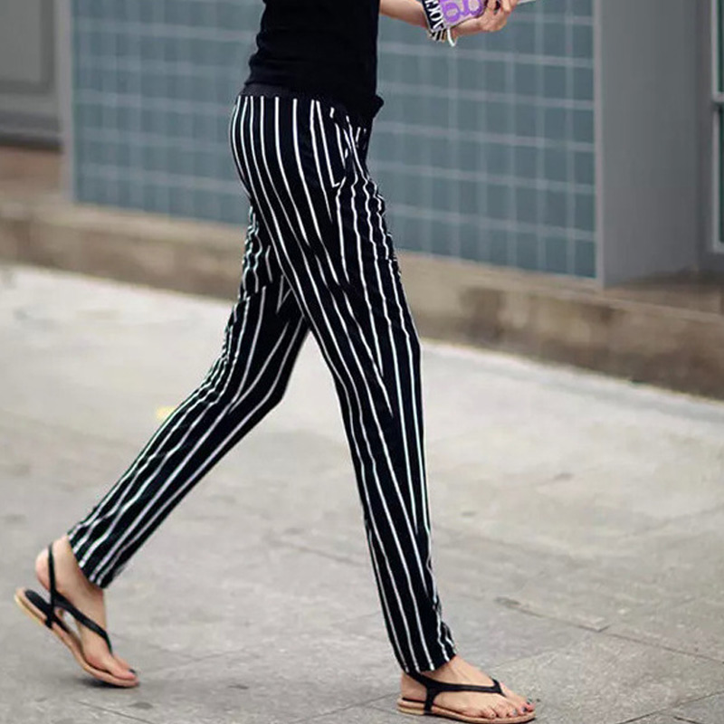 Harem-Pants Mid-Waisted Female Striped Casual Women Slim-Fit Loose New-Arrival