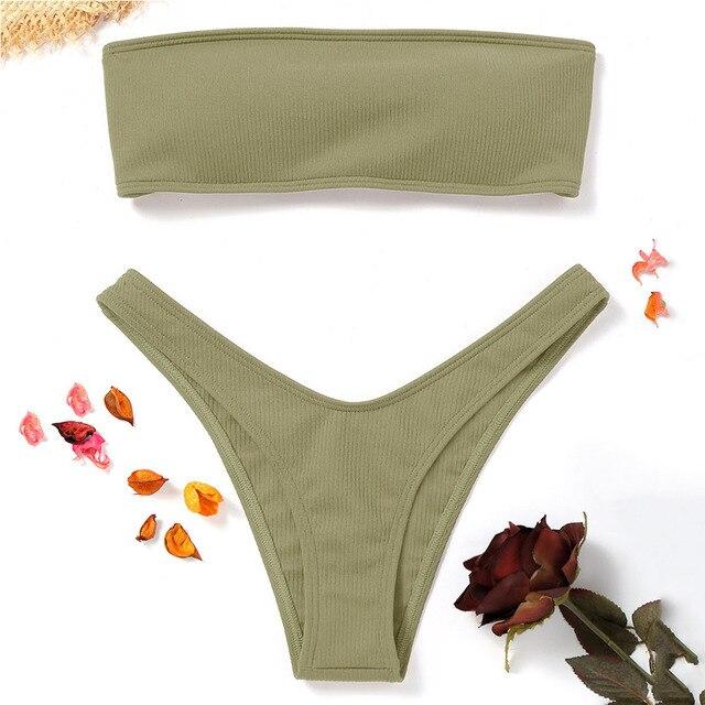ZAFUL Gân Băng Tóc Mặc Bikini Đồ Bơi Phụ Nữ Áo Tắm Cao Cắt Thong Bộ Bikini Strapless Brazil Biquini Hàng Xấp Thơ De Bain Femme