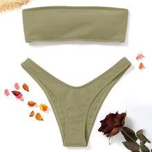 3eff009bdc ZAFUL Côtelé Bandeau Maillot De Bain Bikini pour Femme Maillot De Bain  Coupe Haute String Bikini Sans Bretelles Brésilien Biquin.