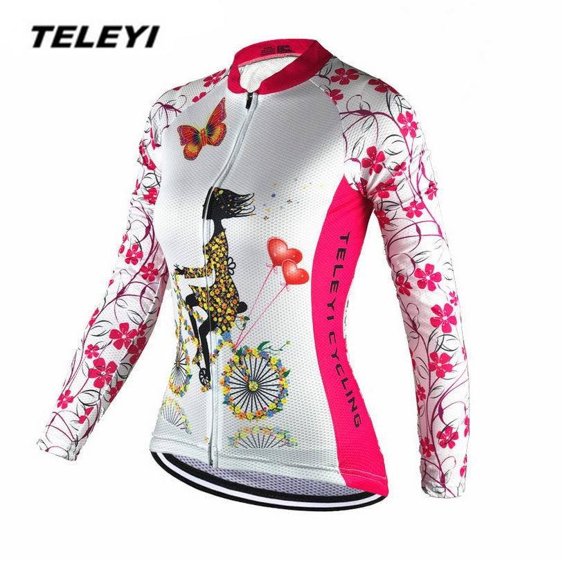 2017 TELEYI Pink Bike Long jersey Women Cycling clothing Female MTB Ropa Ciclismo Maillot Riding Long Sleeve Shirts Quick Dry