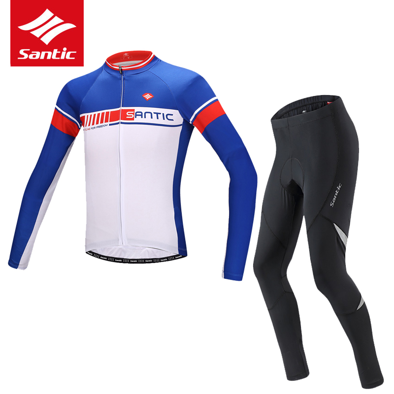 Santic 2017 Men Cycling Set Long Sleeve Breathable Anti-UV Bike Bicycle Jersey 4D Padded Cycling Jersey Set Roupa Ciclismo teleyi men cycling jersey bike long sleeve outdoor bike jersey bicycle clothing wear breathable padded bib pants set s 4xl