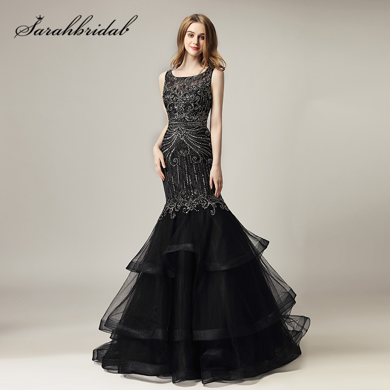 Black Long   Evening     Dresses   2019 New Arrival Luxury Beaded Crystals Mermaid Formal Celebrity Prom Gowns Ruffles Train CC492