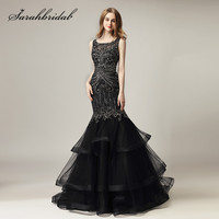Black Evening Dresses 2018 New Arrival Luxury Beaded Crystals Mermaid Long Formal Celebrity Dress Ruffles Train
