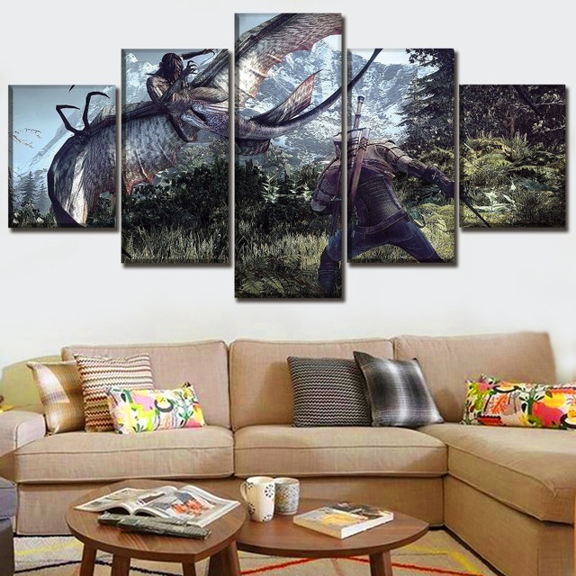 5 Panel Game The Witcher 3 Wild Hunt Duel Painting Modern Home Wall Decor Picture Canvas Art Print Poster For Modern Living Room 2