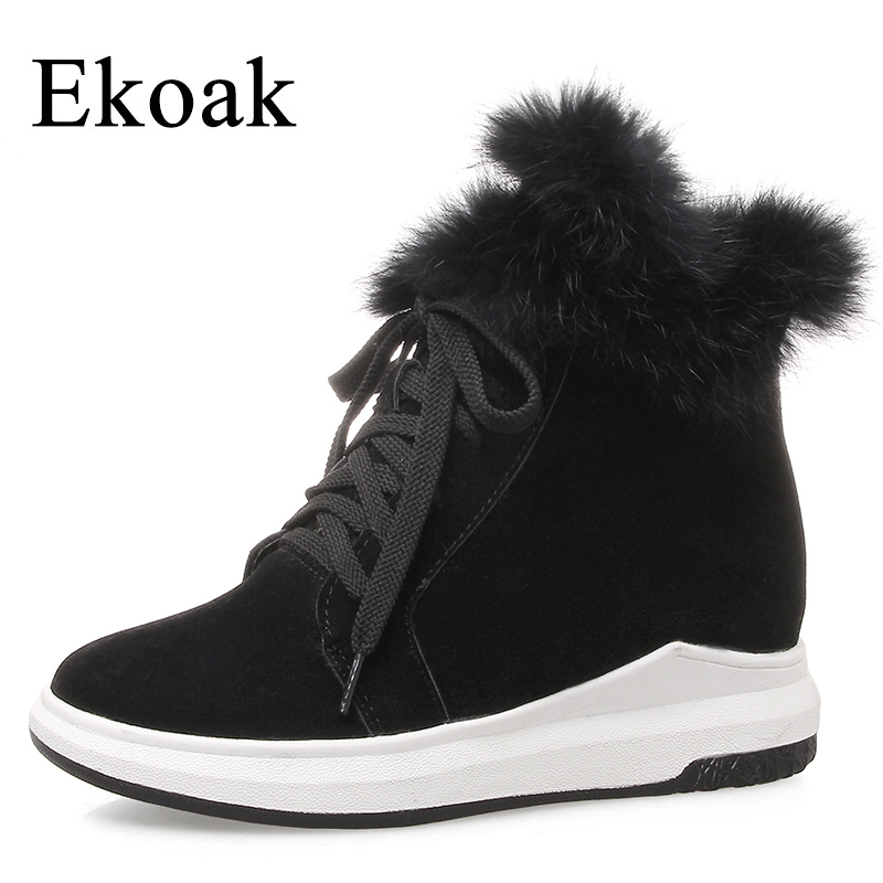 Ekoak 2018 Fashion Women Snow Boots Warm Plush Rabbit Fur Ankle Boots Ladies Wedges Platform Shoes Woman Lace-Up Martin Boots ekoak new 2017 winter boots fashion women boots warm plush mid calf boots ladies platform shoes woman rubber leather snow boots