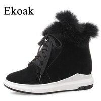 Ekoak 2018 Fashion Women Snow Boots Warm Plush Rabbit Fur Ankle Boots Ladies Wedges Platform Shoes