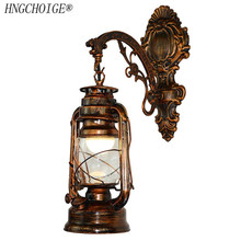 Vintage LED lámpara de pared linterna para Granero Retro keroseno luz de pared estilo antiguo europeo