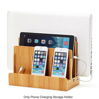 Wooden Device Bracket Charging Storage Laptops Home Organizer Multi Slot Tablets Office Phone Holder Stand Travel Electronics