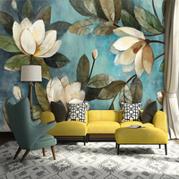 High Quality Deep Texture 3D White Lotus Retro Style Oil Painting Murals Home Decoration Wallpaper Living