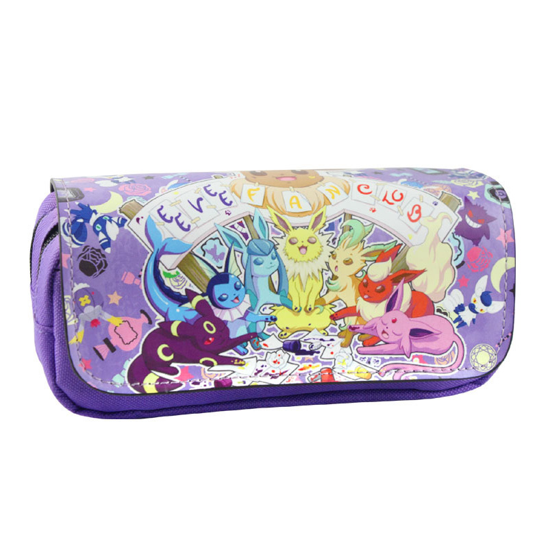 Top Selling Pokemon Pen Cases Pouch Kawaii Cartoon Pocket Monster Leather Pencil Bags Stationery Holder Women Cosmetic Purse