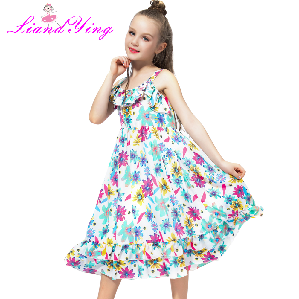 Dresses for Girls Summer Floral Clothes Princess Dresses Infant Vestdio Children Flower Dress 2-12 Years Girls Kids Dresses girls dress summer 2017 denim dresses for girls infant strap children clothing princess sundress fashion design kids clothes