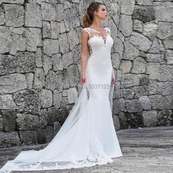 Mermaid Wedding Dresses Appliques Lace Custom Made Bridal Dress Illusion Back Wedding Gown Vestidos De Noiva 2019 Mariage