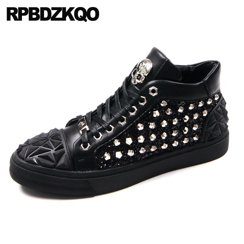 Detail Feedback Questions about Elevator Trainers High Top Black Hip Hop  Stud Men Shoes Luxury Brand Skate Rivet Sequin Skull Lace Up Metal Tip  Sneakers ... 1c6ae2d10578