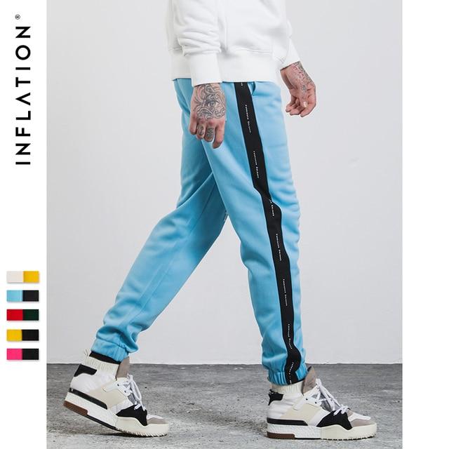INFLATION 2018 Mens Sweatpants Side Stripe Letter Printing Contrast Color Jogger Elastic Waist Mens SweatPants 357W17