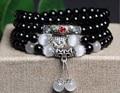 New Fashion 6mm Black agate  Tibetan Buddhist 108 Prayer Beads Necklace Gourd mala Prayer Bracelet for Meditation