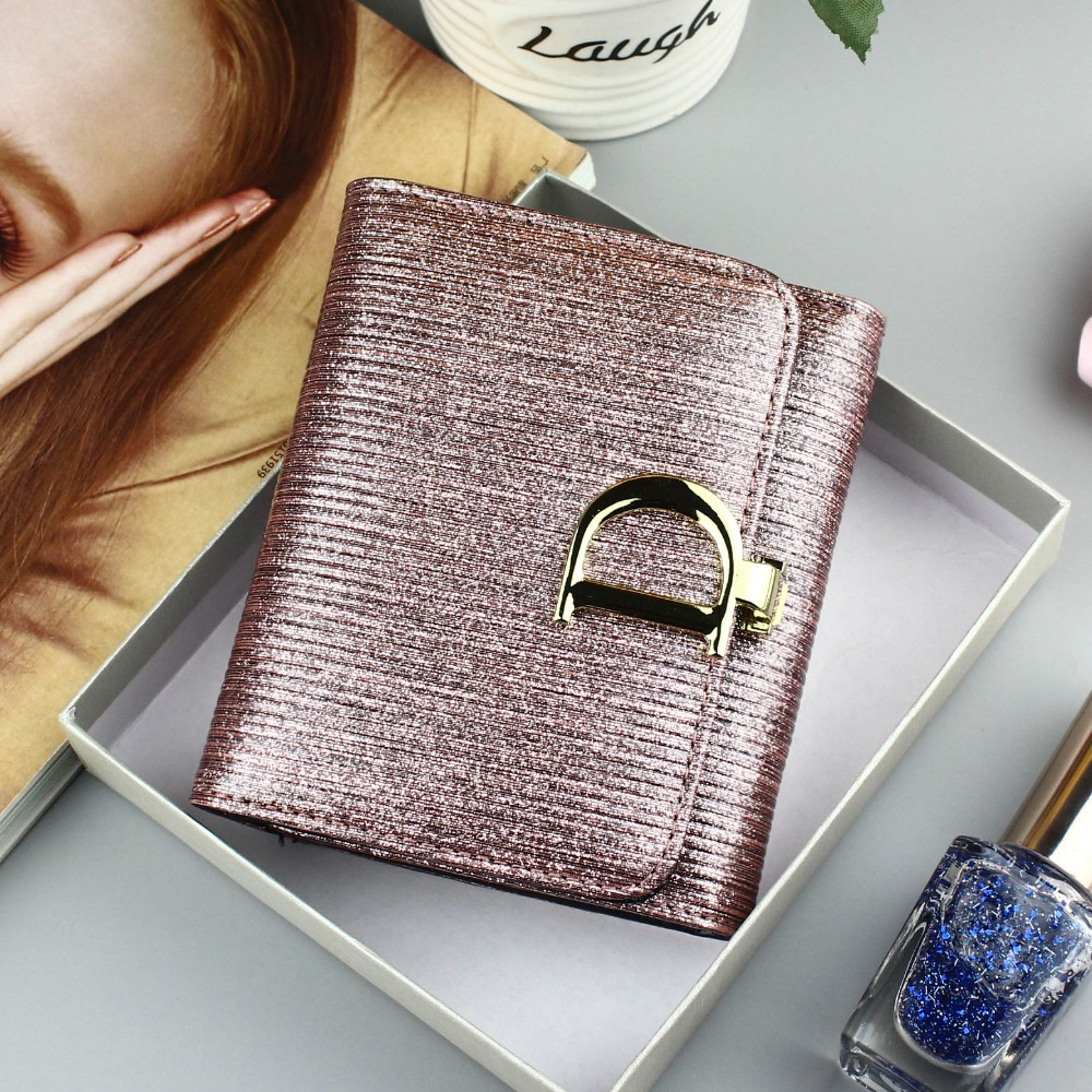 High Quality Genuine Leather Women Wallets Short Fashion Mini Small Wallet 3 Fold Glitter Coin Purse Ladies Card Holder Wallet women wallets short purse genuine leather wallet women luxury brand small coin purse female clutch 3 fold cowhide leather wallet