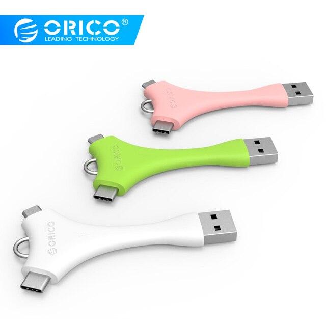 ORICO C1 USB Kabel Dual Port Tragbare Sync & Charge Micro B + Typ-C Daten Kabel für Xiaomi huawei Samsung Mit Schlüssel Ring