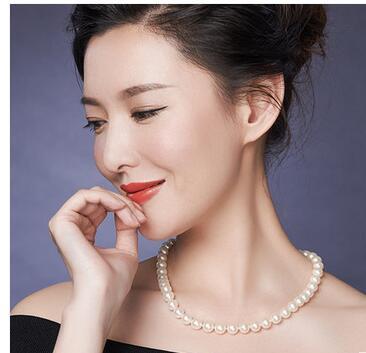 925 argent véritable naturel grand Zhuji naturel collier de perles d'eau douce, S925 sterling argent boucle d'or, 8-9-10mm rond, impeccable