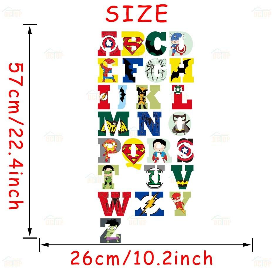 Creative Super Hero Style Alphabet ABC Wall Decal 26 Letters DIY Art Vinyls Stickers Nursery Kids Room Home Decorative Wallpaper (6)