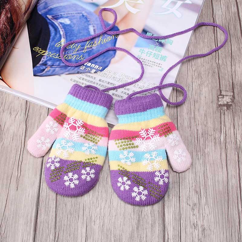 Winter Kids Snow Gloves Children Snowflake Mittens Cute Stripe Girls