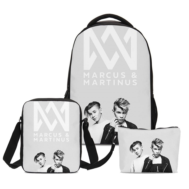 2019 New Marcus And Martinus Designer School Bags Girls Book Backpacks 3pc Set With Pencil Case
