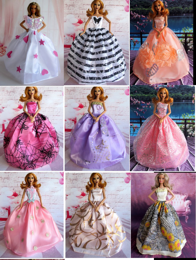 10 PCS/lot doll  Equipment Stunning Elegant  marriage ceremony clothes  garments for barbie   Free Transport For/1/6 doll