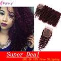 Grade 7a Deep Wave Virgin Brazilian Hair With Closure 5pcs Lot Red Burgundy Kinky Curly Hair Weaving 100g For Sexy Fashion Woman