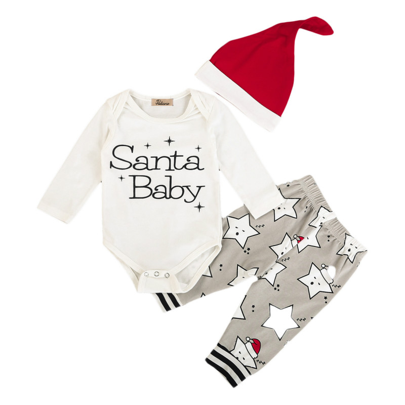 New Christmas Newborn Baby Boys Girls Infant Kids Costomer Cotton Tops Santa Romper Bodysuit Long Pants Hats Xmas Outfit Clothes