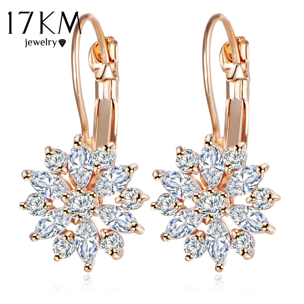 17KM Brand 3 Color Crystal Flower Stud Earrings For Women 2017 Bijoux Vintage Love Wedding Earring Statement Brinco Bijouterie